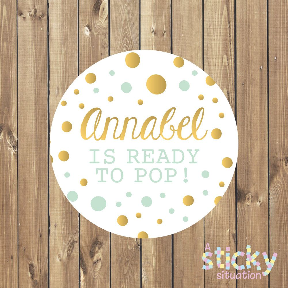 35 x Baby Shower Personalised Stickers 37mm Circles Baby Shower Favours